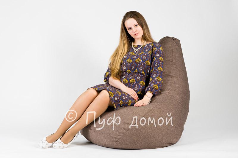 Кресло мешок bean bag серо-коричневый
