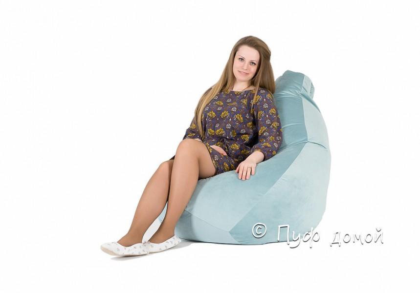 Кресло-груша Велюр голубой